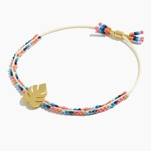 Madewell Glass Bead Slider Gold Palm Leaf Bracelet